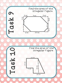 6th Grade Area of Irregular Figures Task Cards Aligned to Common Core 6.G.1
