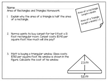 6th Grade Area of Rectangles and Triangles Activity Bundle: CCSS 6.G.1