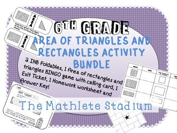 6th Grade Area of Rectangles and Triangles Activity Bundle