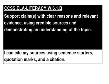 6th Grade Argument Writing I CAN Statements