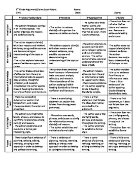 6th grade argument claims writing rubric common core standards by d amador. Black Bedroom Furniture Sets. Home Design Ideas