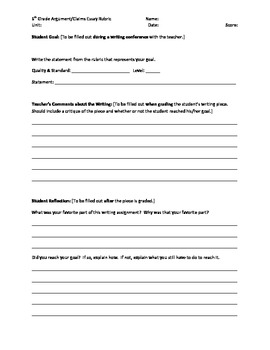 6th Grade Argument/Claims Writing Rubric - Common Core Standards