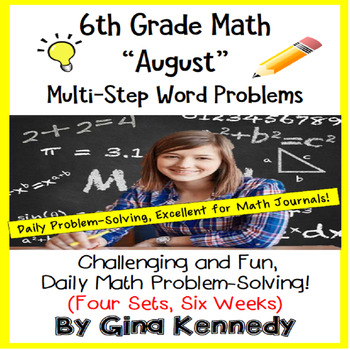 6th Grade August Daily Problem Solving: Math Challenge Problems (Multi-Step)