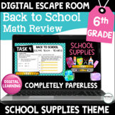 6th Grade Back to School Digital Escape Room Math Review |