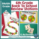 6th Grade Back to School Math Review Activities