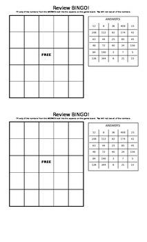 6th Grade Back to School Review Bingo