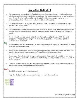 6th Grade Beginning of Year Math Assessment