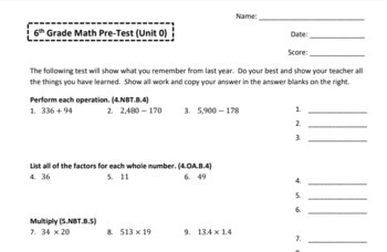 6th Grade Beginning of the Year Common Core Pre-Assessment & Intervention Tool