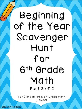 6th Grade Beginning of the Year Scavenger Hunt Part 2