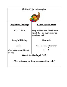 6th Grade Math Bellwork/bell ringers for November