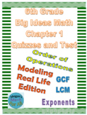 6th Grade Big Ideas Math Chapter 1 Quizzes and Test -Common Core-SBAC - Editable