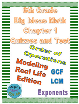 6th Grade Big Ideas Math Chapter 1 Quizzes and    by Megan's