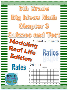 6th Grade Big Ideas Math Chapter 3 Quizzes and Test-Common Core-SBAC-Editable