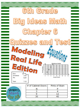 6th Grade Big Ideas Math Chapter 6 Quizzes and Test-Common Core-SBAC-Editable