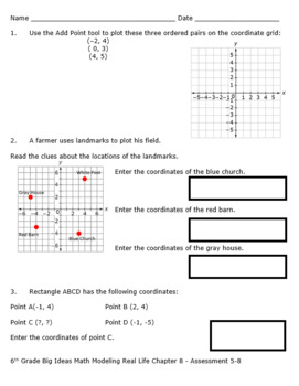 6th Grade Big Ideas Math Chapter 8 Quizzes and Tests-Common Core-SBAC- Editable