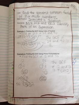 6th Grade Big Ideas Math Notes for Interactive Notebook 1.1,1.6e