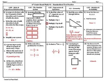 6th Grade Board Math #1 - Standardized Test Practice