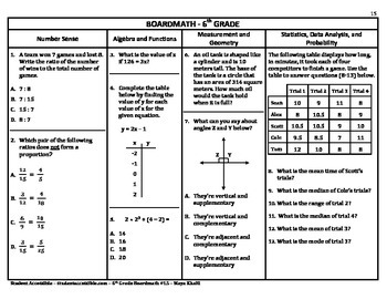 6th Grade Board Math #15 - Standardized Test Practice