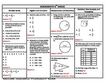 6th Grade Board Math #17 - Standardized Test Practice