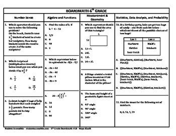 6th Grade Board Math #18 - Standardized Test Practice