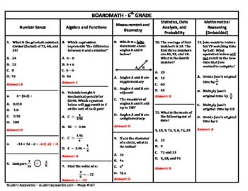 6th Grade Board Math #9 - Standardized Test Practice