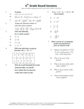 6th Grade Board Session 16,Common Core,Review,Math Counts,Quiz Bowl