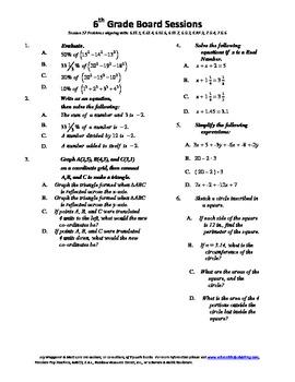 6th Grade Board Session 17,Common Core,Review,Math Counts,