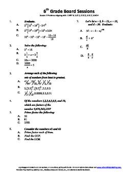 6th Grade Board Session 7,Common Core,Review.Math Counts,Q