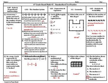 6th Grade Boardmath #2 – Standardized Test Practice