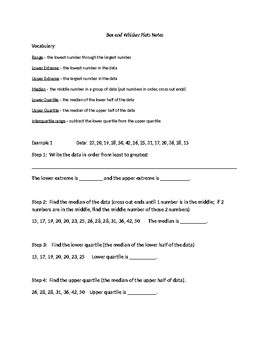 6th Grade Box and Whisker Plot Guided Notes