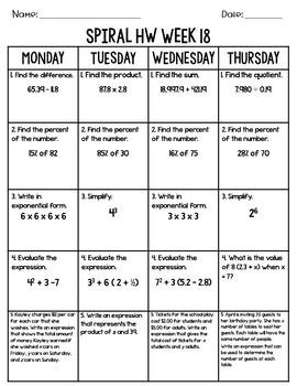6th Grade CCS/TN Ready Spiral Math Homework Quarter 3 EDITABLE