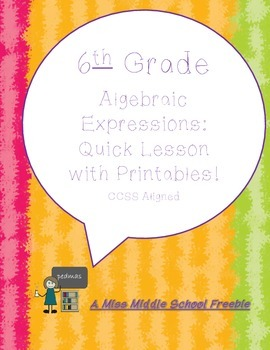 6th Grade Ccss Aligned Lesson With Printables By Mrs Kristi Tpt