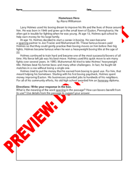 6th Grade CCSS Context Clues Assessment