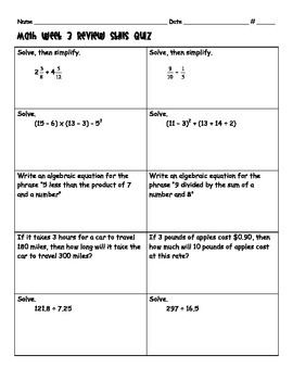 6th Grade: CCSS Daily Math Review Skils Quizzes 1-3