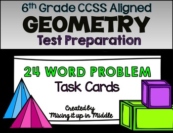 6th Grade CCSS Geometry Test Prep WORD PROBLEM Task Cards