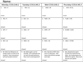6th Grade CCSS Homework Week 1--  CCSS.6.NS.2 AND CCSS.6.NS.3