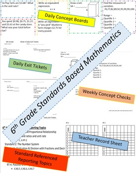 6th Grade CCSS Math Daily Exit Tickets and Friday Concept Check Weeks 1-4