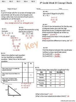 6th Grade CCSS Math Daily Exit Tickets and Friday Concept Check Weeks 14-16
