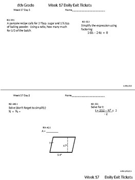 6th Grade CCSS Math Daily Exit Tickets and Friday Concept Check Weeks 17-19