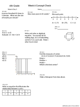 6th Grade CCSS Math Daily Exit Tickets and Friday Concept Check Weeks 5-7