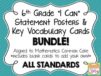 6th Grade CCSS Math I Can Posters & Word Wall Cards BUNDLE**