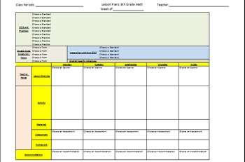 6th Grade CCSS Math Lesson Plan Template with drop down lists