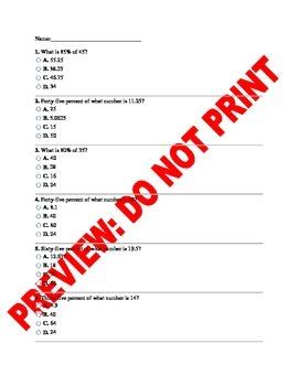 6th Grade CCSS Math Percents Assessment