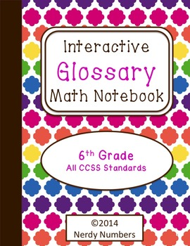 6th Grade CCSS Math Vocabulary Frayer Model Interactive Notebook Glossary