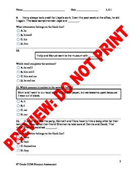6th Grade CCSS Pronoun Assessment L.6.1