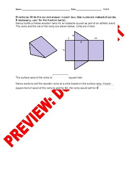6th Grade CCSS Surface Area Geometry Assessment