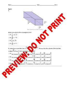6th Grade CCSS Volume Math Assessment 6.G.2