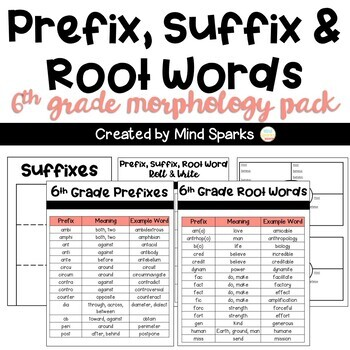 6th Grade CCSS Word Work for Interactive Notebooks (Prefixes, Suffixes, Roots)