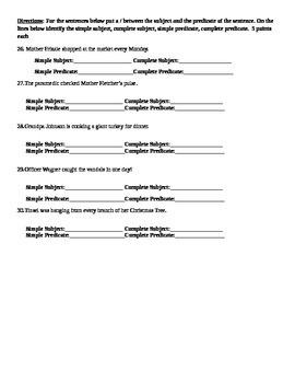 6th Grade CFA CCSS Aligned Grammar Test-L.6.1a, L.6.2