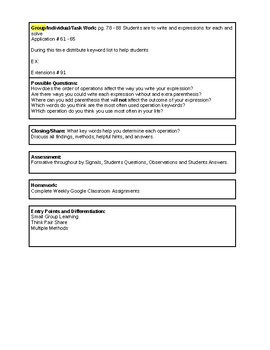 6th Grade CMP3 Lesson Plan - Prime Time 4.4 - Workshop Model